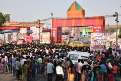 Heavy crowd trying to get into Ramlila (dramatic folk re-enactment of the life of Rama) Ground Royalty Free Stock Photo