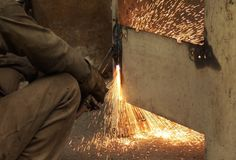 Heavy cutting sparks Royalty Free Stock Photography