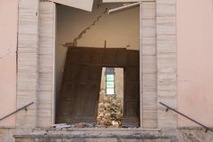 Heavy damage after earthquake abandoned destroyed church Stock Image