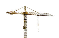 Heavy dark yellow hoisting crane isolated on white Stock Photos