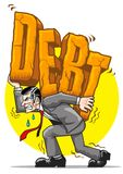 Heavy debt. A man bearing the weight of the word debt Stock Image