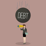 Heavy debt falling to careless business woman Royalty Free Stock Images