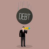 Heavy debt falling to careless businessman Royalty Free Stock Image