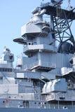 Heavy defense. Up close of naval ship Stock Image