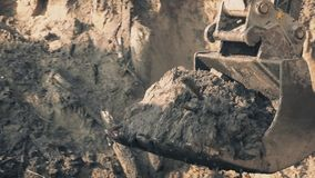 Heavy Digger Shovel Moving Earth stock video footage