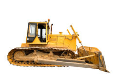 The heavy dirty building bulldozer of yellow color. Royalty Free Stock Photos