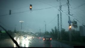 Heavy downpour from car stock video