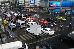 Heavy downpour floods Bangkok. BANGKOK, THAILAND-MAR 24: Heavy downpour in inner Bangkok has caused floods on several roads and traffic jams on March 24, 2015 Royalty Free Stock Photos