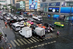 Heavy downpour floods Bangkok. BANGKOK, THAILAND-MAR 24: Heavy downpour in inner Bangkok has caused floods on several roads and traffic jams on March 24, 2015 Stock Photo