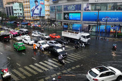 Heavy downpour floods Bangkok. BANGKOK, THAILAND-MAR 24: Heavy downpour in inner Bangkok has caused floods on several roads and traffic jams on March 24, 2015 Royalty Free Stock Photography