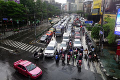 Heavy downpour floods Bangkok. BANGKOK, THAILAND-MAR 24: Heavy downpour in inner Bangkok has caused floods on several roads and traffic jams on March 24, 2015 Royalty Free Stock Images