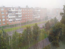 The heavy downpour. Heavy downpour on a suburban street Royalty Free Stock Image