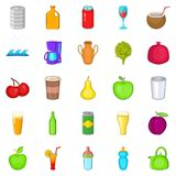 Heavy drinking icons set, cartoon style Stock Images