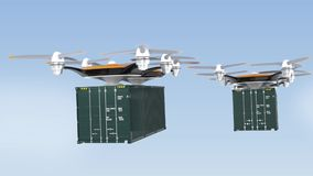 Heavy drones delivering cargo containers in sky.  stock illustration