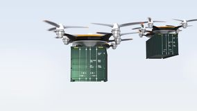 Heavy drones landing on ground for delivering cargo containers stock video footage