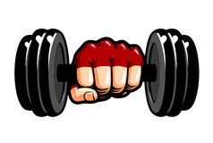 Heavy dumbbell in hand, cartoon. Gym, bodybuilding, weightlifting symbol. Sport vector illustration Stock Image