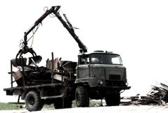 Heavy dump truck. Heavy dump truck against blue sky royalty free stock images