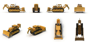 Heavy duty bulldozer Isolated on white 3D Illustration Royalty Free Stock Images