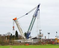 Heavy Duty Crane erecting a road bridge Stock Photography