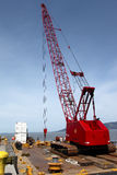 Heavy Duty Crane On A Barge, Port Of Astoria OR. Stock Photo