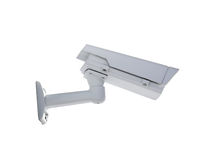 Heavy duty exterior surveillance camera back view. Isolated on white background Stock Photography