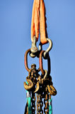 Heavy duty industrial chains and hooks Stock Photography