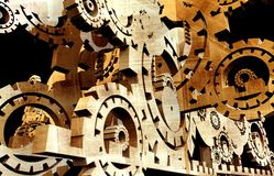 Heavy Duty Machinery. 3D Render Illustration. Black Background. Many Sprockets / Gears Abstract Machine Stock Photos