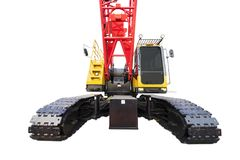 Heavy duty machinery with steel wheel. And big crane, isolated on white background Stock Photo