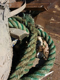 Heavy Duty Rope and Muddy Trash in a Dumpster Collected After A Cleanup Event Royalty Free Stock Photo