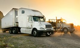 Heavy duty semi-truck's parked at a rest stop. In AZ during sunset Stock Photos