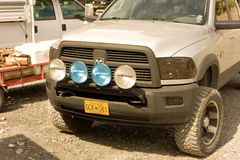 Heavy-duty spotlights on a truck at the fish camp at chitina Stock Image