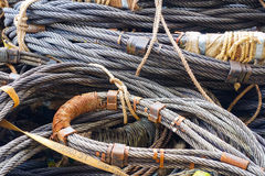 Heavy duty steel wire rope sling in construction site on offshor Stock Photo