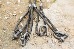 Heavy duty steel wire rope sling. With safety anchor shackle bolt in construction site Stock Photography