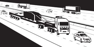 Heavy duty truck with pilot cars on highway. Vector illustration Royalty Free Stock Photography