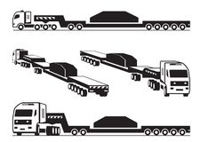 Heavy duty truck transports cargo. In perspective - vector illustration Stock Photo