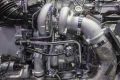 Heavy duty truck turbo diesel engine Royalty Free Stock Images