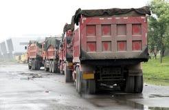 Heavy-duty trucks. On the construction site royalty free stock photos
