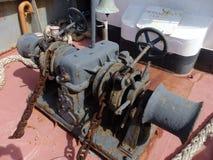 Heavy-duty winch on a tug-boat. Royalty Free Stock Photography