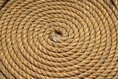 Heavy duty yellow coiled rope Royalty Free Stock Image