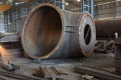 Heavy engineering - Fabrication. A large power plant boiler component is being manufactured in factory Royalty Free Stock Photography
