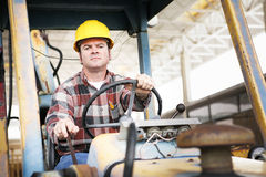 Heavy Equipment Driver. Worker driving heavy construction equipment - bulldozer or backhoe Royalty Free Stock Photos