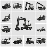 Heavy equipment and machinery icons set. Vector silhouette illustration stock illustration