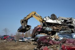 Automobile junk-yard royalty free stock photos