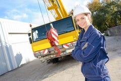 The heavy equipment operator. Crane royalty free stock photos