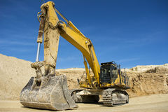 Heavy equipment in quarry. Site in the UK Stock Photos