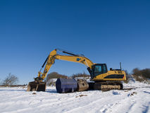 Heavy equipment in snow Royalty Free Stock Photos