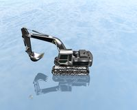 Heavy excavator on a blue Royalty Free Stock Photography