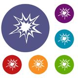 Heavy explosion icons set. In flat circle red, blue and green color for web Royalty Free Stock Images