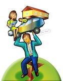 Heavy family life men. financial instability. Severe family life of men. financial instability. a car. house. children. wife. breakage stock illustration