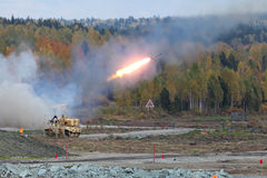 Heavy Flame Thrower System. NIZHNY TAGIL, RUSSIA - SEP 25, 2013: The international exhibition of armament, military equipment and ammunition RUSSIA ARMS EXPO ( Stock Photos